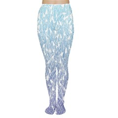 Blue Ombre Feather Pattern, White,  Women s Tights by Zandiepants