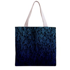 Blue Ombre Feather Pattern, Black, Zipper Grocery Tote Bag by Zandiepants