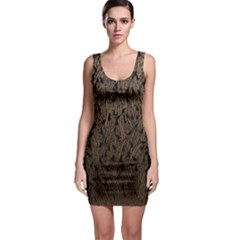 Brown Ombre Feather Pattern, Black,  Sleeveless Bodycon Dress by Zandiepants