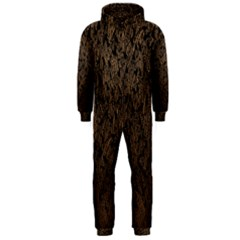 Brown Ombre Feather Pattern, Black,  Hooded Jumpsuit (men)  by Zandiepants