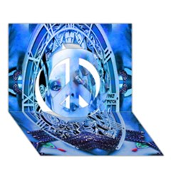 Clockwork Blue Peace Sign 3d Greeting Card (7x5)