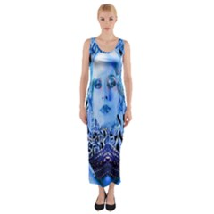 Clockwork Blue Fitted Maxi Dress