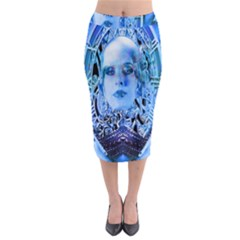 Clockwork Blue Midi Pencil Skirt
