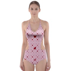 Heart Squares Cut Out One Piece Swimsuit