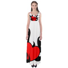 Black And Red Flaming Heart Empire Waist Maxi Dress