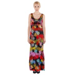 Colorful Brush Strokes                                             Maxi Thigh Split Dress by LalyLauraFLM