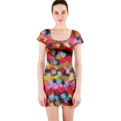 Colorful Brush Strokes                                             Short Sleeve Bodycon Dress