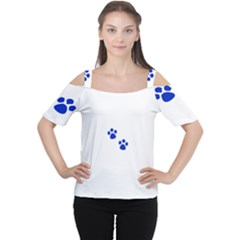 Blue Paws Women s Cutout Shoulder Tee by TRENDYcouture