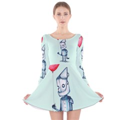 Tin Man Long Sleeve Velvet Skater Dress