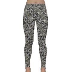 Silver Oriental Ornate Yoga Leggings by dflcprintsclothing