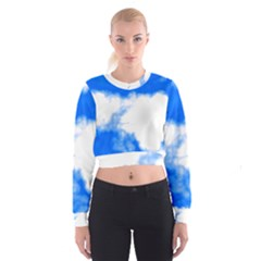 Blue Cloud Women s Cropped Sweatshirt by TRENDYcouture