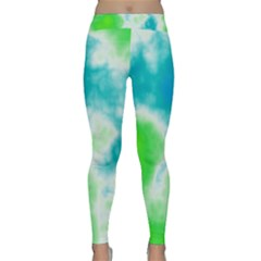 Turquoise And Green Clouds Yoga Leggings