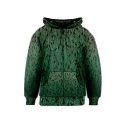 Green Ombre Feather Pattern, Black, Kids  Zipper Hoodie by Zandiepants