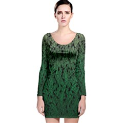 Green Ombre Feather Pattern, Black, Long Sleeve Velvet Bodycon Dress by Zandiepants