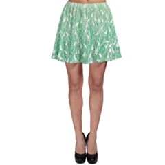 Green Ombre Feather Pattern, White, Skater Skirt by Zandiepants