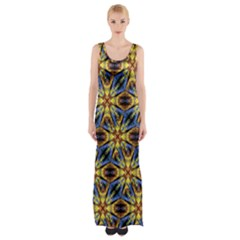 Vibrant Medieval Check Maxi Thigh Split Dress by dflcprintsclothing