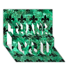 Royal1 Black Marble & Green Marble Thank You 3d Greeting Card (7x5) by trendistuff