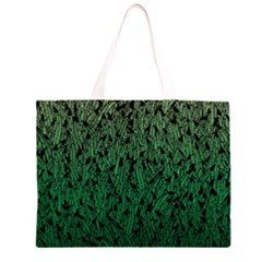 Green Ombre Feather Pattern, Black, Zipper Large Tote Bag by Zandiepants