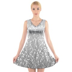 Grey Ombre Feather Pattern, White, V Neck Sleeveless Skater Dress by Zandiepants