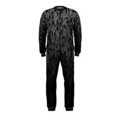 Grey Ombre Feather Pattern, Black, Onepiece Jumpsuit (kids) by Zandiepants