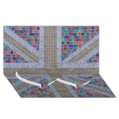 Multicoloured Union Jack Twin Heart Bottom 3d Greeting Card (8x4)  by cocksoupart