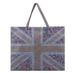 Multicoloured Union Jack Zipper Large Tote Bag by cocksoupart