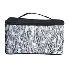 Grey Ombre Feather Pattern, White, Cosmetic Storage Case by Zandiepants