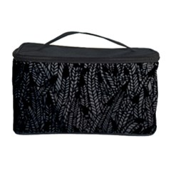 Grey Ombre Feather Pattern, Black, Cosmetic Storage Case by Zandiepants