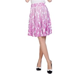 Pink Ombre Feather Pattern, White, A Line Skirt by Zandiepants