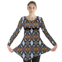 Stones Pattern Long Sleeve Tunic  by Costasonlineshop