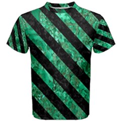 Stripes3 Black Marble & Green Marble (r) Men s Cotton Tee by trendistuff