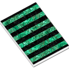 Stripes2 Black Marble & Green Marble Large Memo Pads