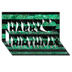 Stripes2 Black Marble & Green Marble Happy Birthday 3d Greeting Card (8x4)