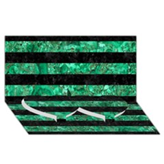 Stripes2 Black Marble & Green Marble Twin Heart Bottom 3d Greeting Card (8x4) by trendistuff