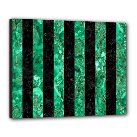 Stripes1 Black Marble & Green Marble Canvas 20  X 16  (stretched) by trendistuff