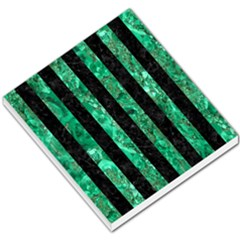 Stripes1 Black Marble & Green Marble Small Memo Pads