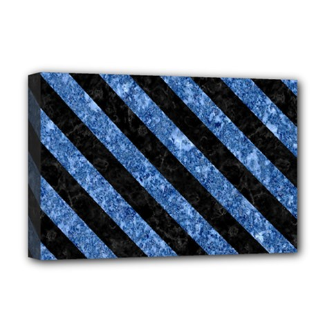 Stripes3 Black Marble & Blue Marble (r) Deluxe Canvas 18  X 12  (stretched) by trendistuff