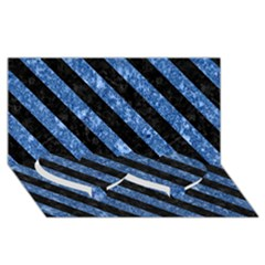 Stripes3 Black Marble & Blue Marble (r) Twin Heart Bottom 3d Greeting Card (8x4)