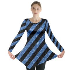 Stripes3 Black Marble & Blue Marble Long Sleeve Tunic  by trendistuff