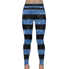 Stripes2 Black Marble & Blue Marble Classic Yoga Leggings by trendistuff