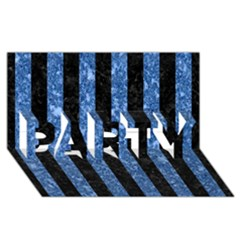 Stripes1 Black Marble & Blue Marble Party 3d Greeting Card (8x4) by trendistuff