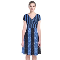 Stripes1 Black Marble & Blue Marble Short Sleeve Front Wrap Dress