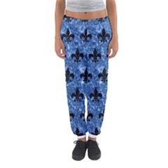 Royal1 Black Marble & Blue Marble Women s Jogger Sweatpants
