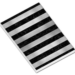 Stripes2 Black Marble & Silver Brushed Metal Large Memo Pads by trendistuff