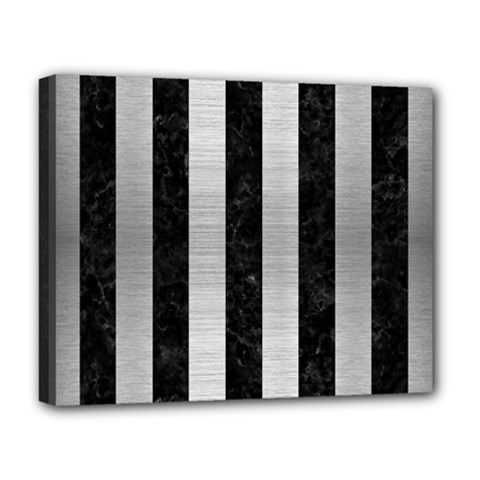 Stripes1 Black Marble & Silver Brushed Metal Deluxe Canvas 20  X 16  (stretched) by trendistuff
