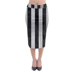 Stripes1 Black Marble & Silver Brushed Metal Midi Pencil Skirt