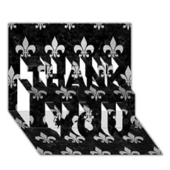 Royal1 Black Marble & Silver Brushed Metal (r) Thank You 3d Greeting Card (7x5) by trendistuff