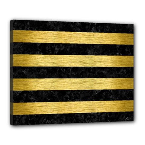 Stripes2 Black Marble & Gold Brushed Metal Canvas 20  X 16  (stretched) by trendistuff