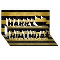 Stripes2 Black Marble & Gold Brushed Metal Happy Birthday 3d Greeting Card (8x4) by trendistuff