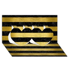 Stripes2 Black Marble & Gold Brushed Metal Twin Hearts 3d Greeting Card (8x4) by trendistuff